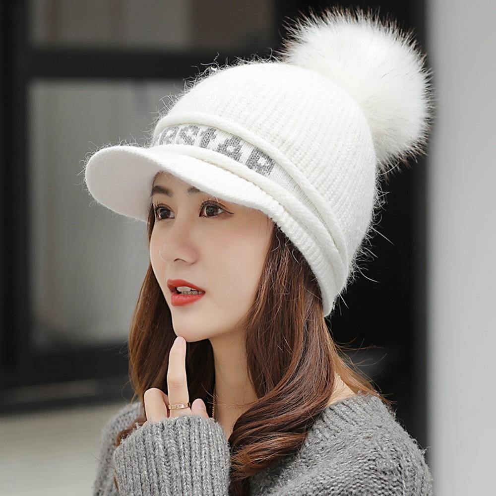 니트 방울 캡 겨울용골프모자 여성 골프 털모자 용품 귀덮는 방한용, 흰색