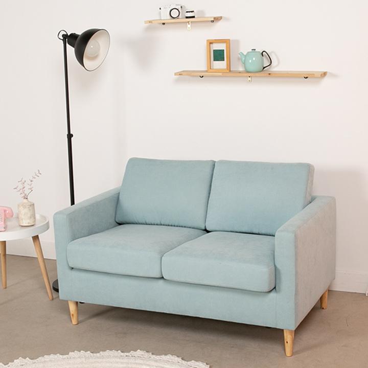 [한정수량 추가할인쿠폰+라텍스방석]에보니아 까페 2인 패브릭방수 소파 의자, 패브릭_민트블루