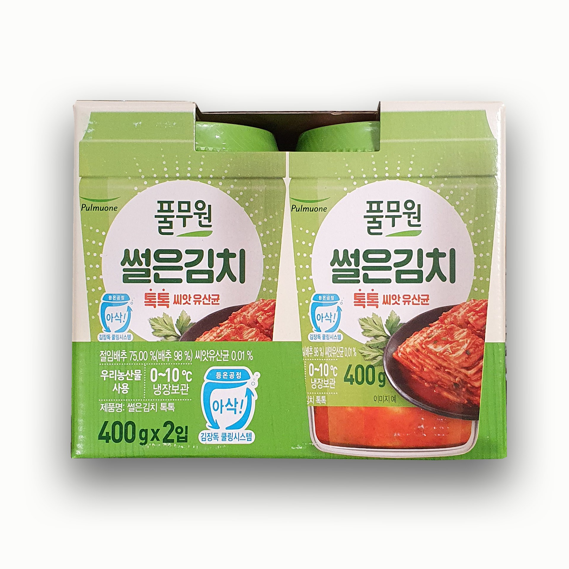[아워홈마트] 풀무원 톡톡썰은김치 400g × 2개 / 친환경 보냉박스 포장, 1개