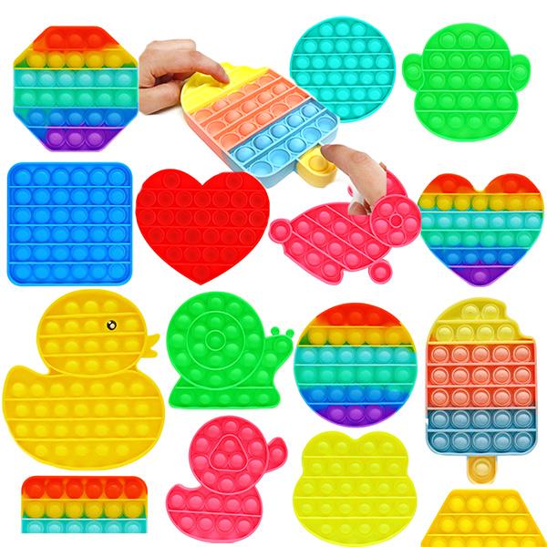 푸쉬팝 버블 팝잇 스트레스해소 뽁뽁이놀이 보드게임 장난감 퍼즐 큐브, 3000 무지개 모형 중 랜덤