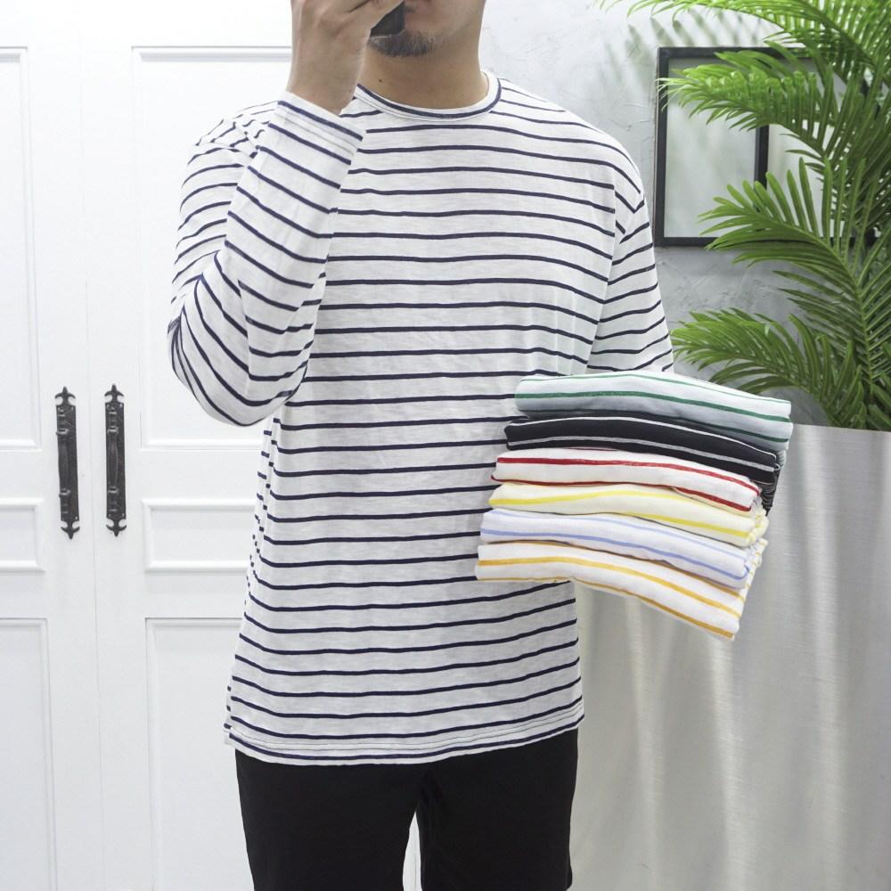 고천 얇은 스트라이프 슬라브 긴팔 티셔츠
