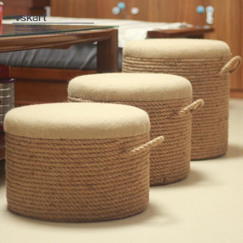 보리수 빈티지 라탄 원형 왕골 방석 스툴 의자, 20cm