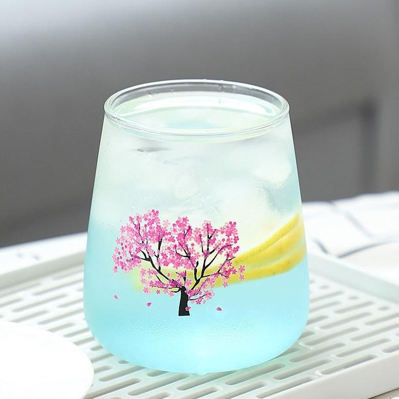 꽃피는술잔 술따르면꽃피는술잔 일본식 벚꽃컵 벚꽃잔, 멋진 사쿠라 컵-쇼트 스타일