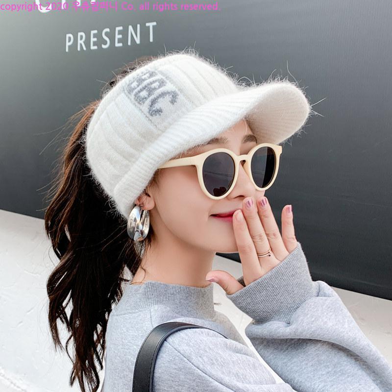우츄 골프귀마개 겨울여성 골프모자 포니테일 니트썬캡VOL2, 핑크