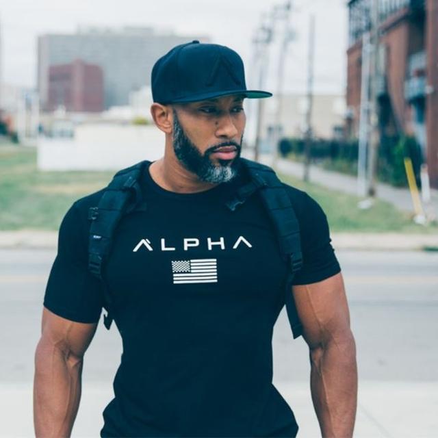 알파 짐웨어 남자머슬핏반팔 반팔 티셔츠
