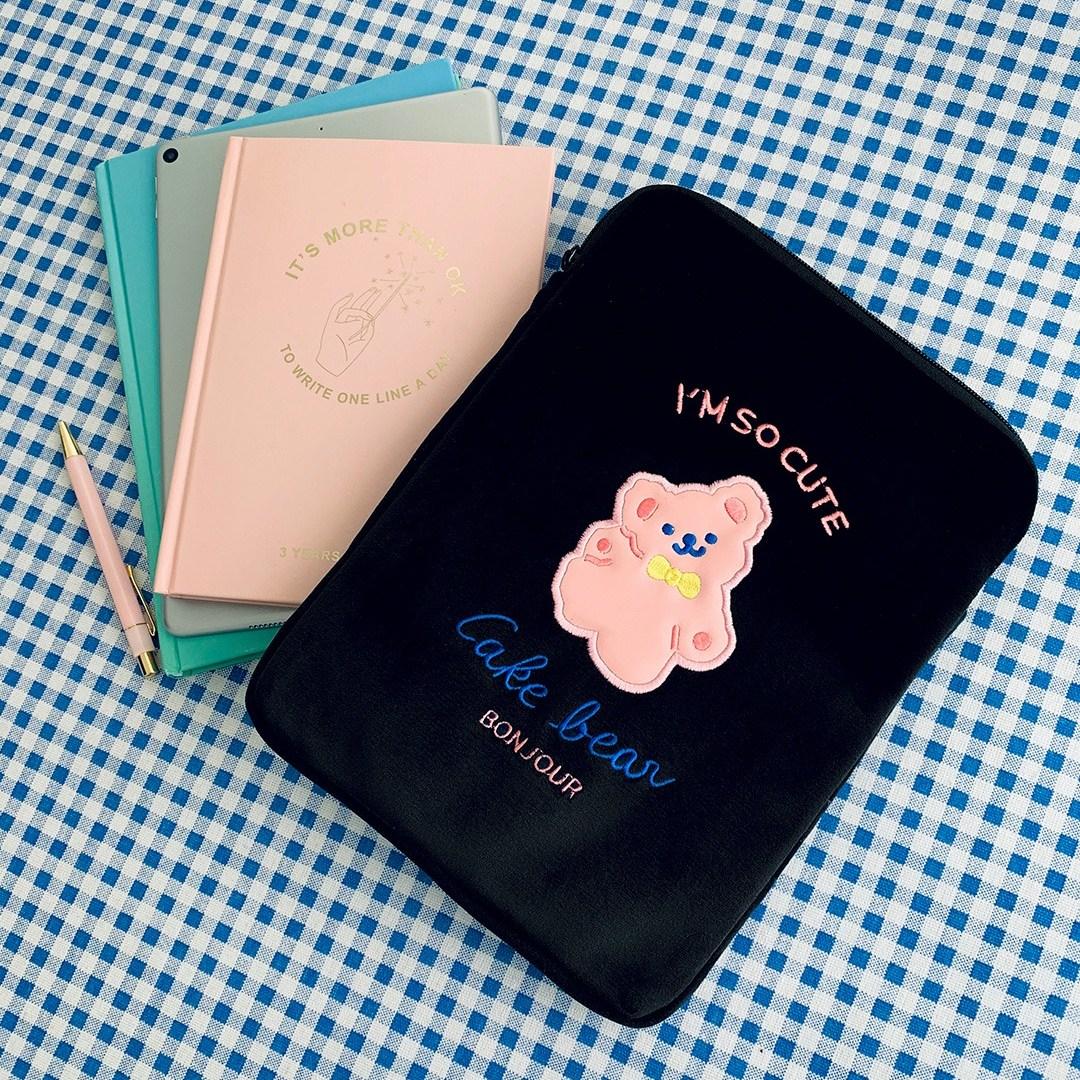 [리틀데이지] 귀여운 아이패드 11인치 10.5인치 10.2인치 파우치 갤럭시탭 s6 s7 케이스 태블릿 3세대 4세대 에어3 6세대 7세대, 03_블랙