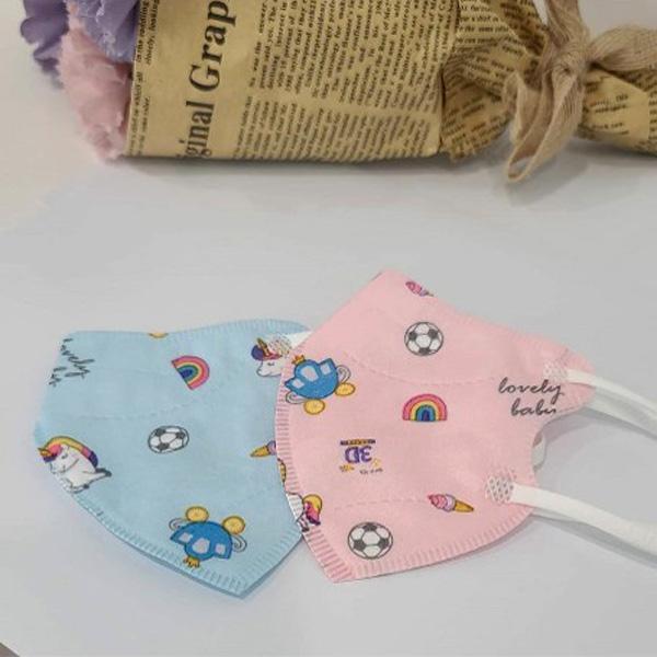 엄마가찾는그3D마스크 엄마가찾는마스크 베이비용 초소형 더 가벼워진 유아 일회용마스크 새부리형, 10매입, 핑크☆롱유니콘