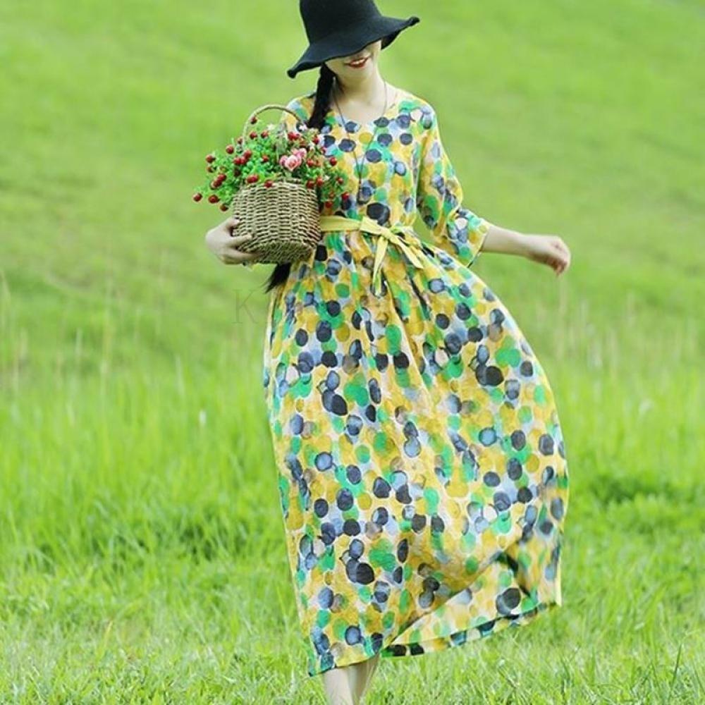 kirahosi 여름 여성 에스닉 원피스 복고풍 여름옷 여자 스커트 패션 228 HD AF0rxa9
