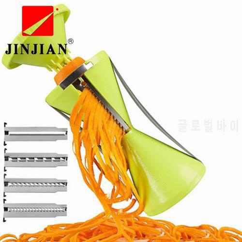 JINJIAN 고품질 4 블레이드 교체 가능 야채 나선형 슬라이서 커터 야채 Spi