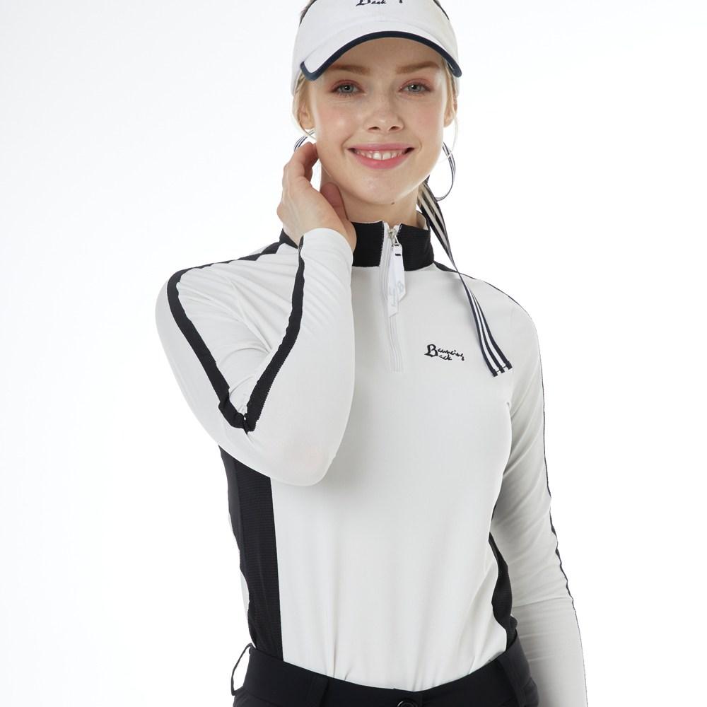 바운싱백 긴팔 짚업 골프 티셔츠 - 화이트