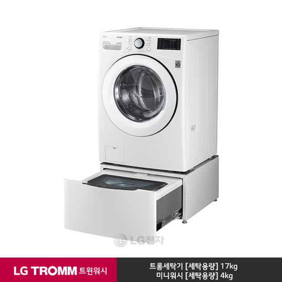 [K쇼핑][LG] TROMM 트윈워시 드럼세탁기 F17WDBPM (화이트/17kg+4kg), 단일상품
