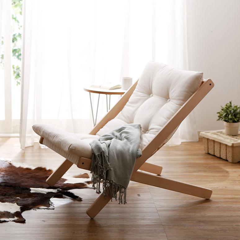 인테리어 일룸 의자 싱글 하우스 일룸 소파 발코니 현대 모던 심플, 01 우드프레임+베이지쿠션