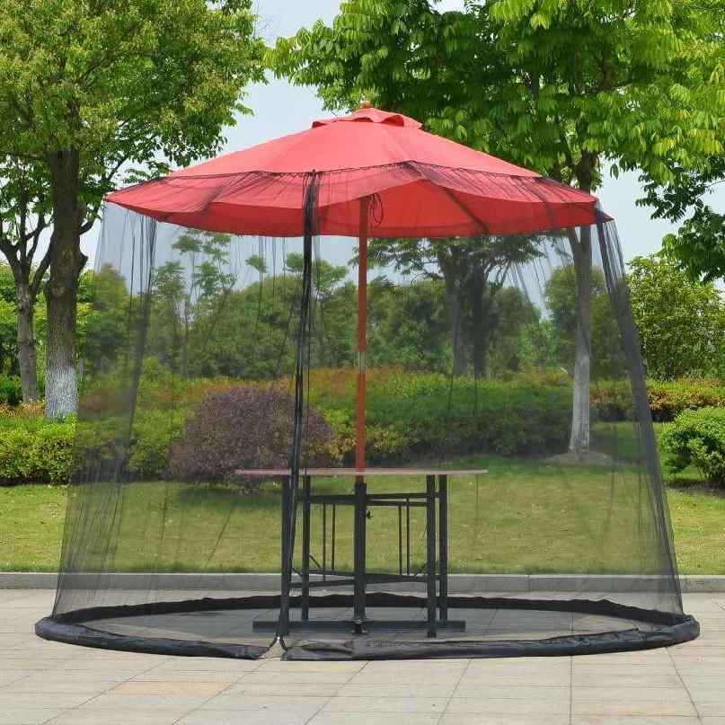 대형파라솔 모기장 방충망 캐노피 카박 캠핑 파라솔 전용 차양, 블랙 275x230cm (우산 제외)