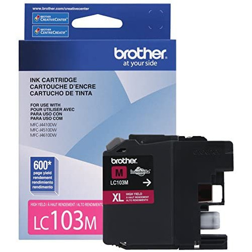 Brother LC-103Y DCP-J132 J152 J171 J4110 J552 J752 MFC-J245 J285 J4310 J4410 J450 J4510 J870 J875 Ink Cartridge Yellow in Retail Packaging, 본문참고, 옵션 4 Color = Magenta