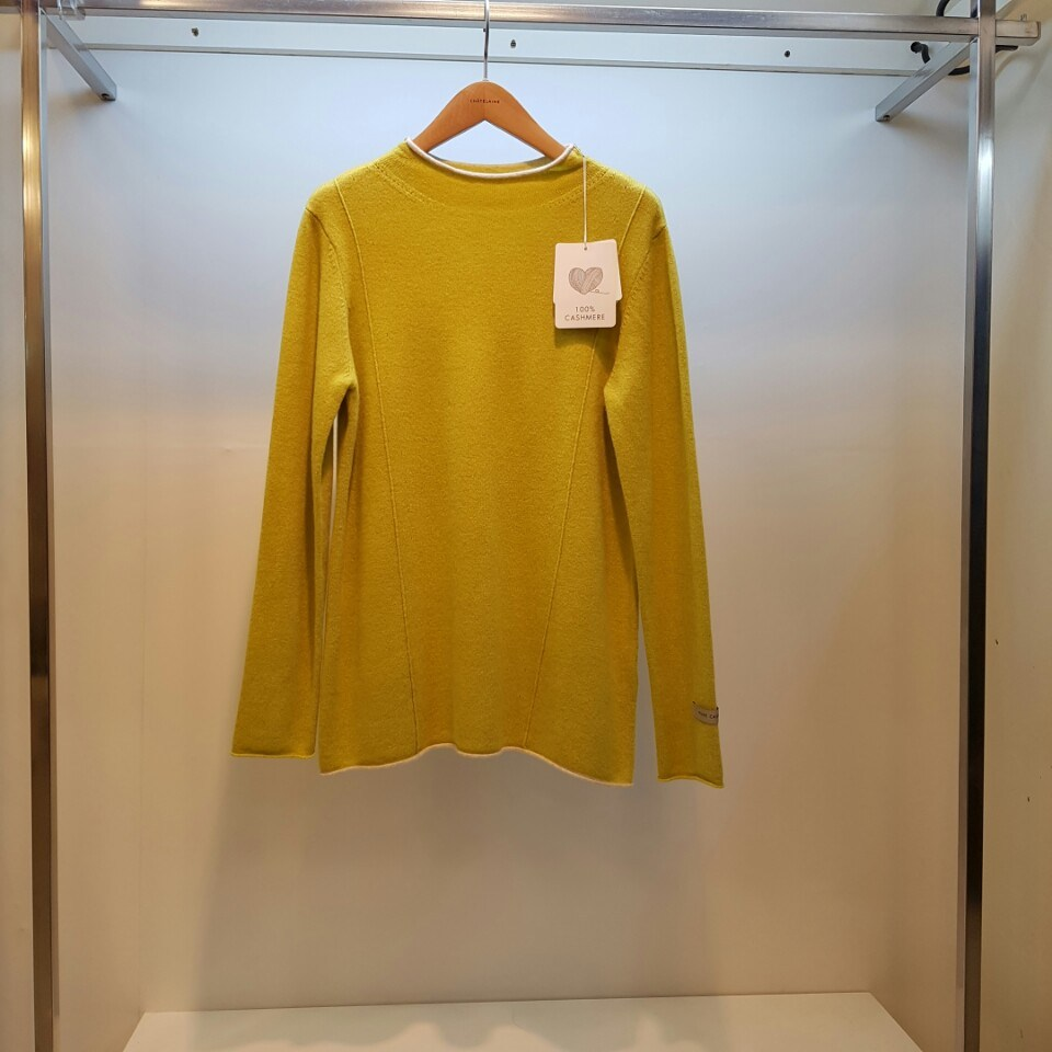샤트렌 [캐시미어100% ][ 마지막 찬스 최종가58%세일]여성 니트 티셔츠 넥과 밑단에 말림단을 사용해 밋밋함을 보완한 고급스러운 캐시미어