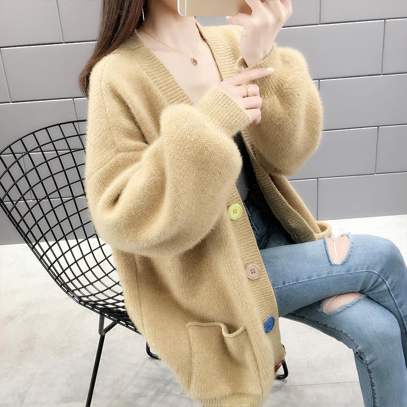 니트가디건 셔닐 여성 두꺼운털옷 외투 카디건 여성패션 니트 상의 가을겨울타입 2020년정품 루즈핏 아우터