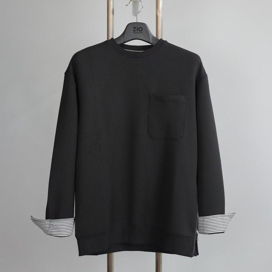 지오송지오 ZVW41779 블랙 지퍼 포인트 맨투맨 티셔츠
