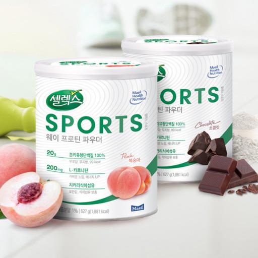 매일유업 셀렉스 스포츠 웨이 프로틴 파우더 분리유청 단백질 보충제 627g 1캔, 초코맛