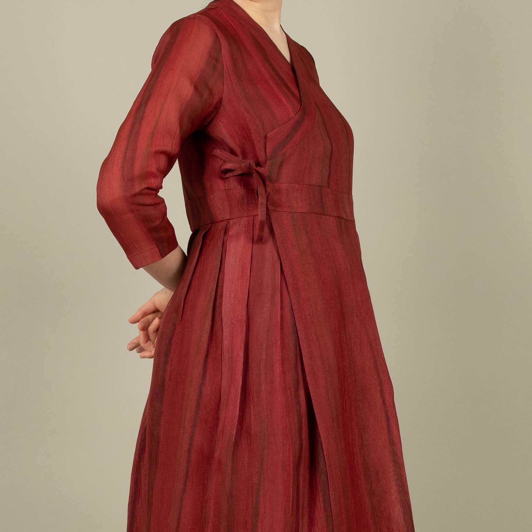 여성 생활한복 천연 염색 메시인견 철릭 원피스 빨강색 소목염색 (POP 5472583611)
