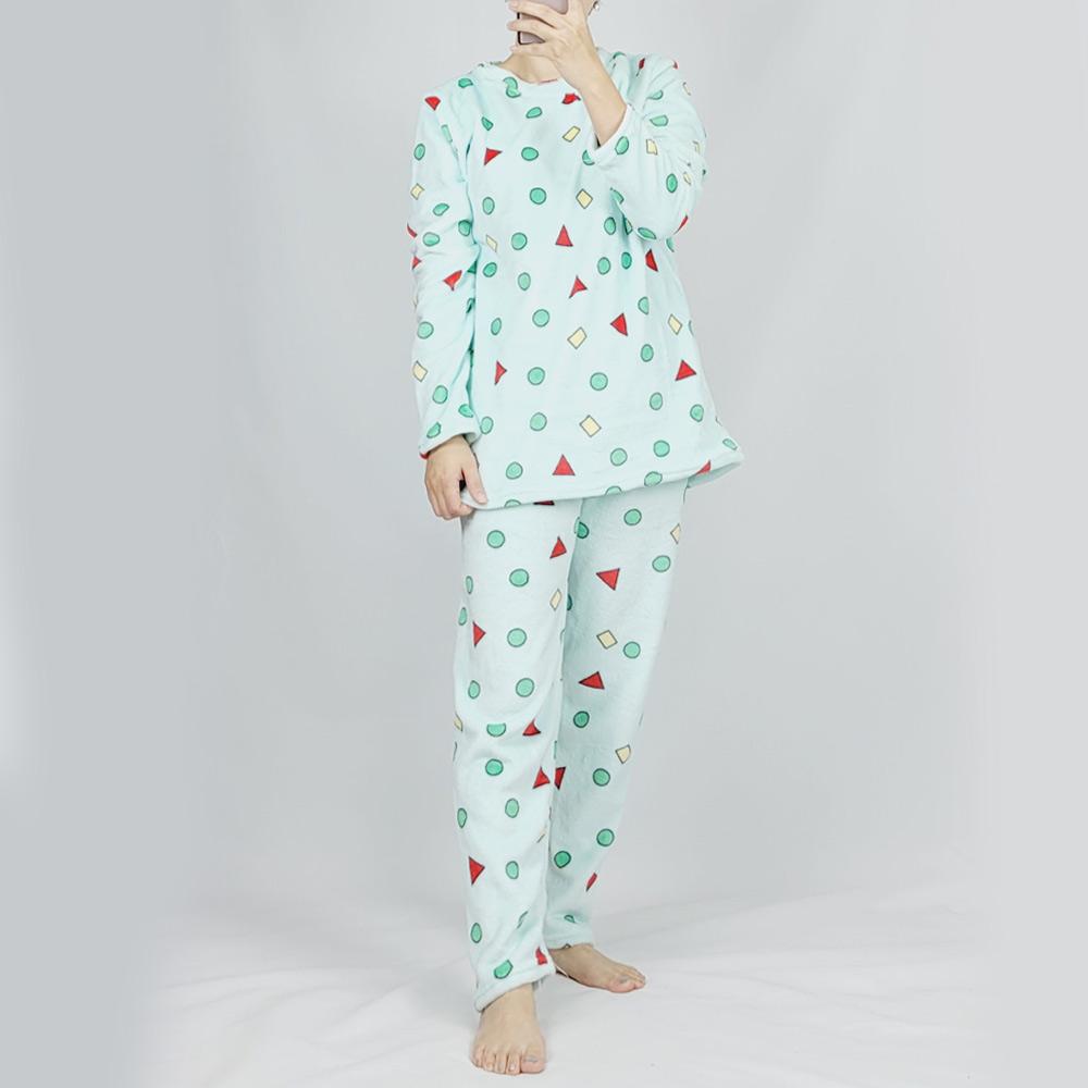 리라 융털기모 극세사 짱구잠옷세트+수면양말 3종 남성 여성 공용