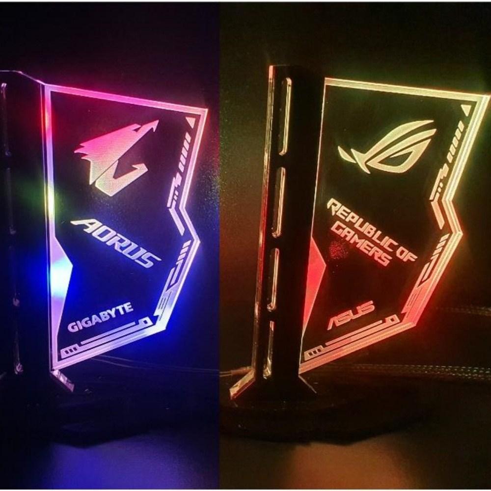 그래픽카드 지지대 수직 타입 ARGB LED 5V 3핀 아크릴, SA-5(5V ARGB)