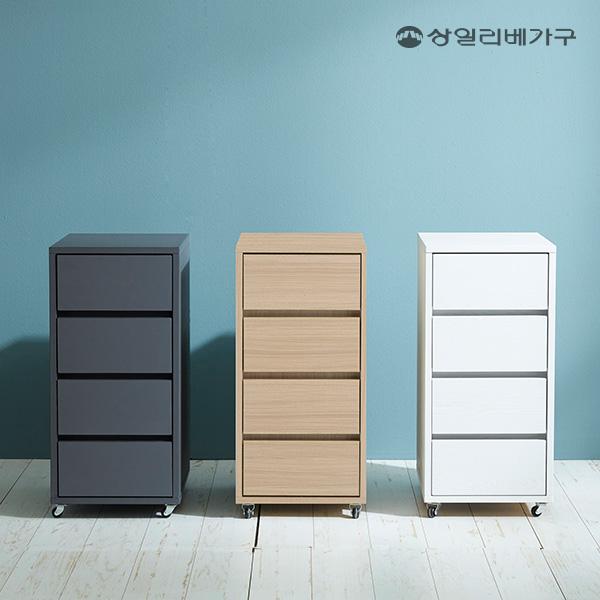 상일리베가구 아이언 이동식 4단 서랍장, 그레이