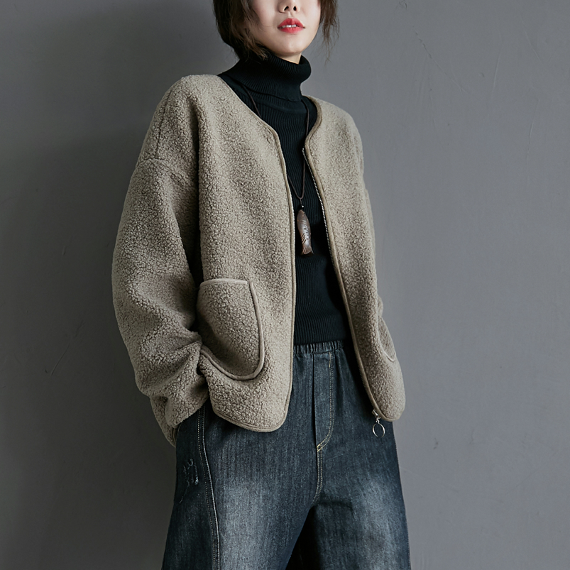여성 미디 양털 기모 뽀글이 간절기 여유핏 빅사이즈 지퍼 자켓