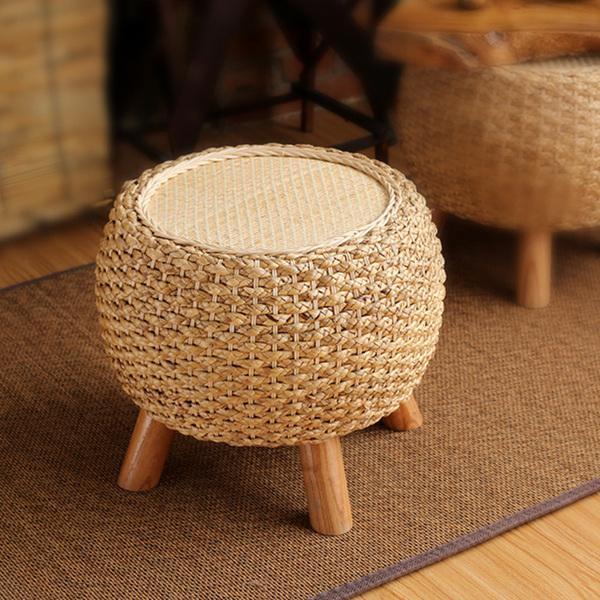 거실 침실 수초 등나무 라탄 스툴 의자, 라탄 원색