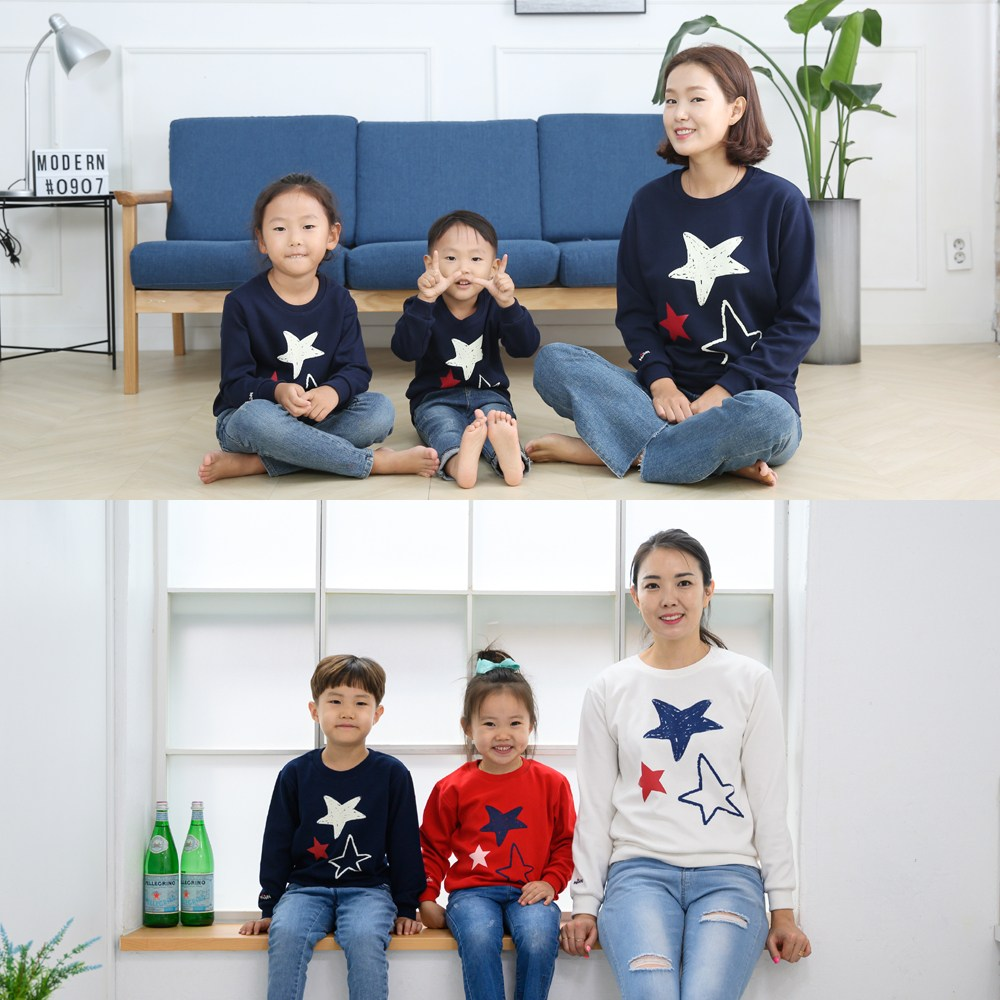 베베왕국 행사중 가족티 패밀리룩 단체티 별빛 맨투맨 특양면 긴팔 티셔츠