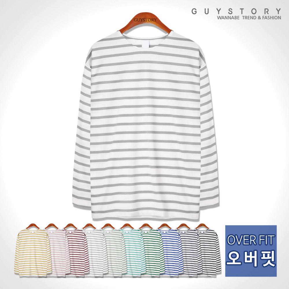 가이스토리 남성용 사계절 긴팔 티셔츠 스트라이프 오버핏 프림스 단가라