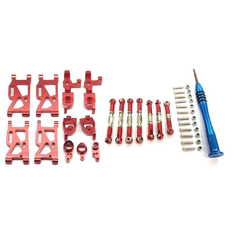 RC카 자동차 무선조종 Wltoys 144001 for WLtoys-s 1|14 144001 RC Car Upgrade Parts Metal Steering Swing Arm Base C Rear Hub Seat S [A00011409], 002-Red