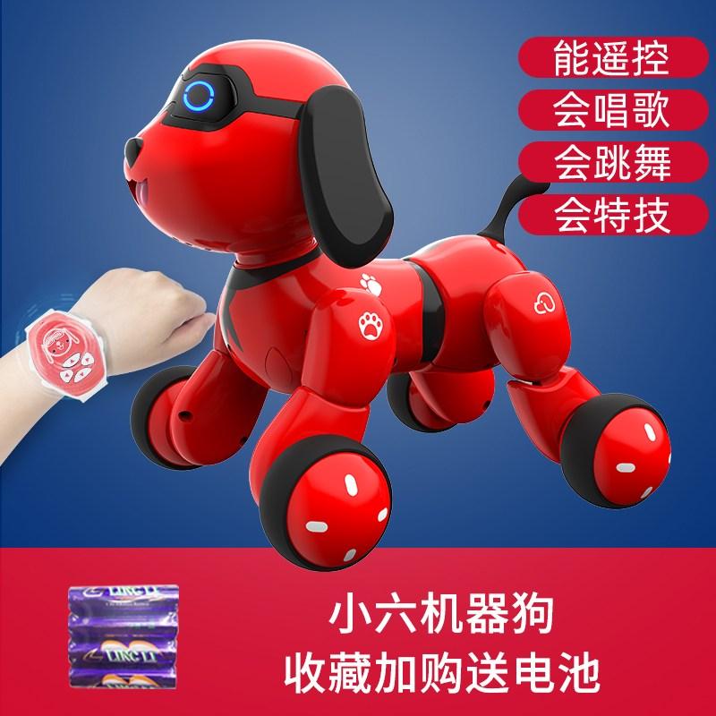 Tekno Newborns 인공지능 로봇강아지 로봇고양이 퍼피 리틀 여섯 아기 스마트 로봇 개 장난감 개 산책, 빨강 소 6 개 [수집 플러스 구입] 건전지 4 개 무료_-