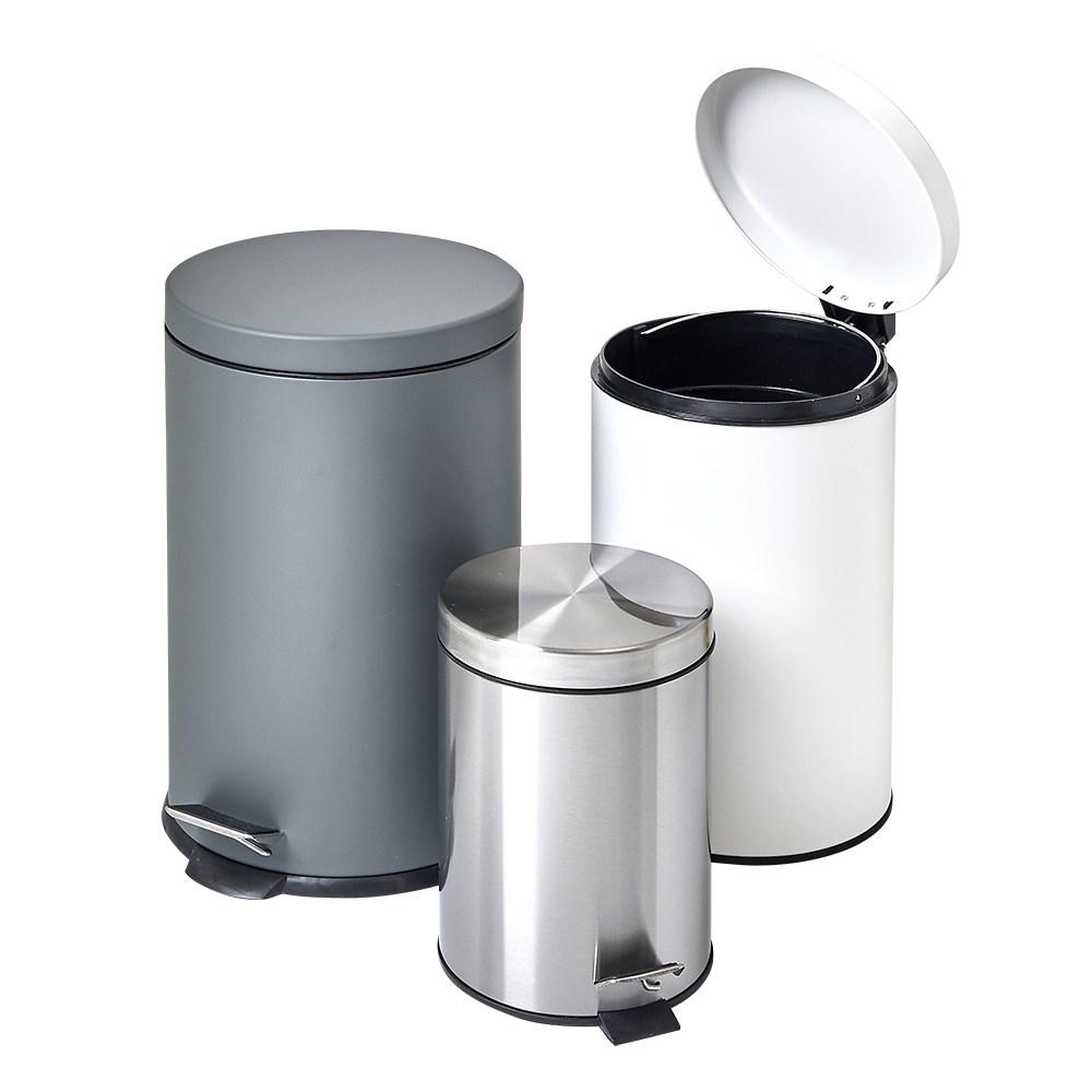할메이드 무소음 원형 페달휴지통 종량제 쓰레기통 5L 12L 20L, 1개, 12L 무광그레이