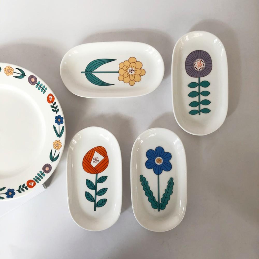 플라워 꽃 반찬 레트로 빈티지 접시 타원형 그릇, 네 개의 타원 세트