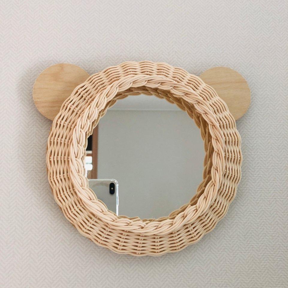 라탄 소품 곰돌이 거울