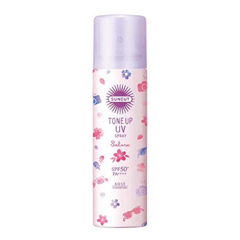 산 컷 KOSE 자외선 차단제 톤 업 UV 스프레이 컬러 컨트롤 투명감 SPF50 + PA ++++ 방수 벚꽃의 향기 90g, 단일옵션