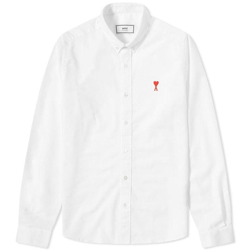 [아미] 남성 하트로고 옥스포드 셔츠 (화이트) A20HC013.45 100
