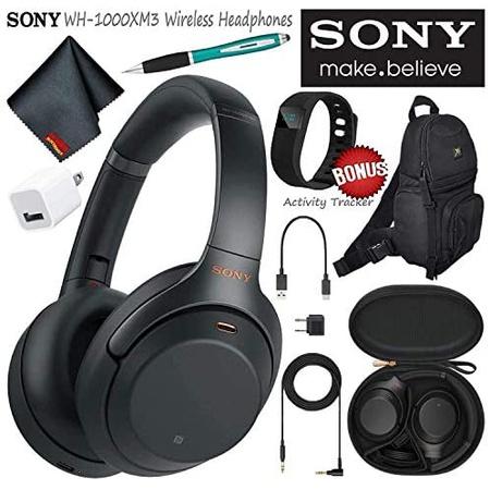헤드셋 Sony WH-1000XM3B Wireless Bluetooth Noise-Canceling Over-Ear Headphones (Black) Essential Co, 상세 설명 참조0, Black