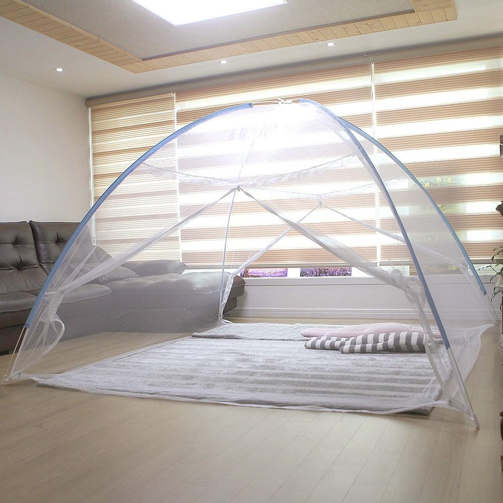 ESAVE 침대용 모기장 9~10인용_양문형 텐트형모기장, 블루
