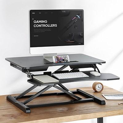 스탠딩책상 일어서기 이동 필기노트 테이블식 사무실테이블 접이식 높이조절 컴퓨터책상 작업테이블 테이블대, T01-DWS06표준판 블랙색 더블층 럭셔리스타일