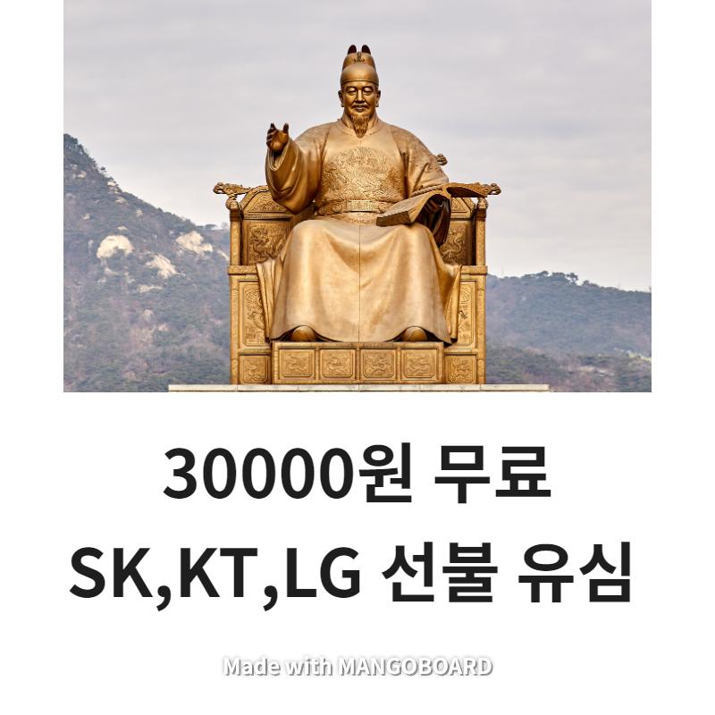 SK KT LG 선불 유심 30000원 무료선불, 1개, 30000원 무료충전