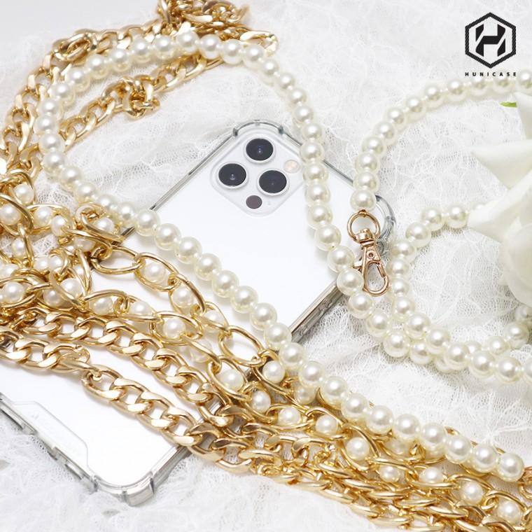 [후니케이스] 숏 가죽체인 핸드폰 스트랩 줄 휴대폰 네크리스, 펄진주