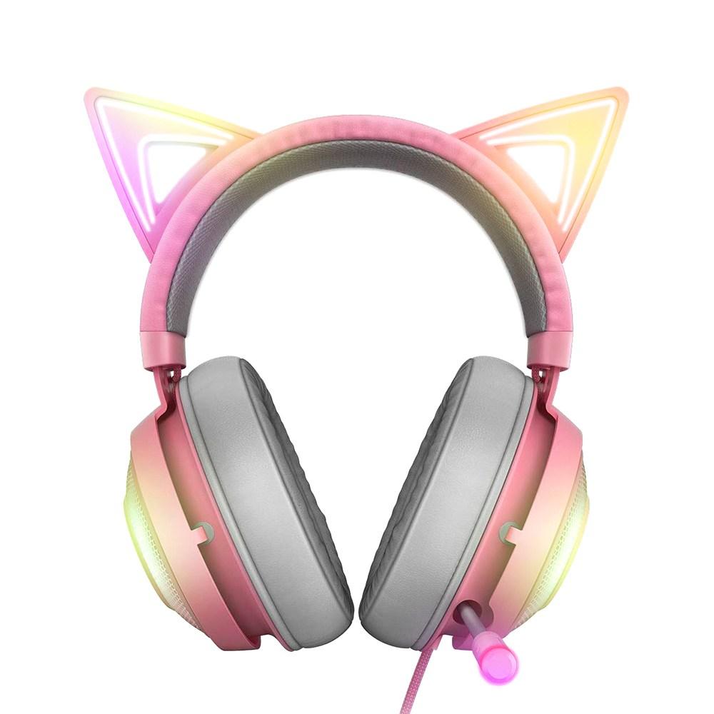RAZER 레이저 크라켄 핑크 7.1 게이밍헤드셋 RGB LED고양이귀 키티에디션 헤드셋