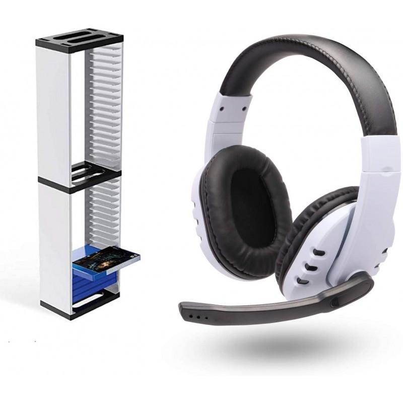 미국배송 PS5 액세서리 PS5 게임 스토리지 스탠드 및 유선 PS5 헤드셋, 단일옵션, 단일옵션