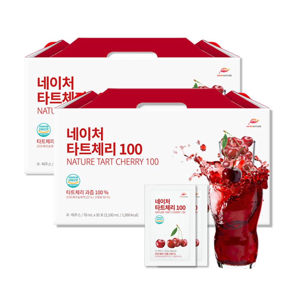 나나네이처 몽모랑시 타트체리 과즙 100% 1박스 2100ml 30포 타트체리쥬스 과즙주스, (1+1)2100ml/30개입, 2박스