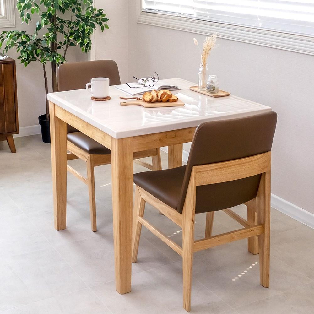 라로퍼니처 루아 대리석 2인용 원목 식탁 세트(식탁+의자2) 식탁세트, 단품