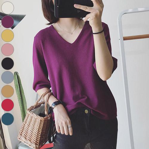 공블리 여성용 베이직 V넥 7부 니트 티셔츠 CST1137
