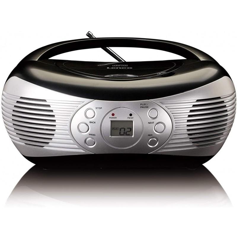 독일직배송 Lenco SCD-12 복고풍 CD 라디오 - 향수 라디오 - FM 라디오 - CD 플레이어 - 반복 기능 - 텔레스코픽 안테나 - AUX, 단일옵션, 단일옵션