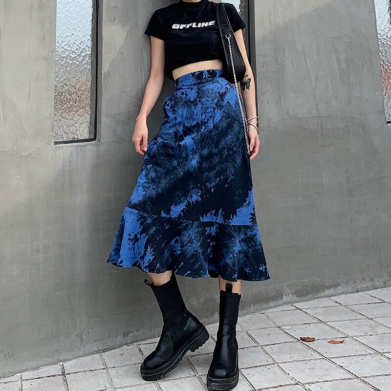 고딕 여성 스커트 블루 타이 염료 긴 하단 여성 높은 허리 슬림 맞는 세련된 Streetwear 맥시 프릴 인어 여름 쿨 스커트 새로운 스커트 