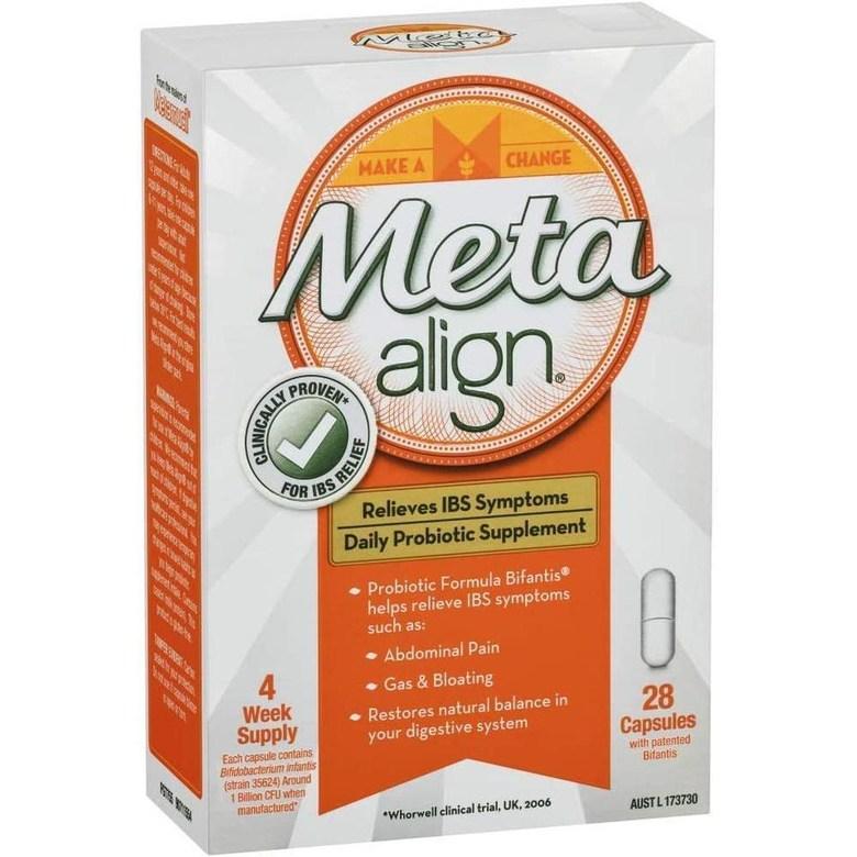 직구 acidophilus Meta Align-과민성 대장 증후군 및 복부 통증 가스 및 팽창을 포함한 증상 완화를위한 일일 프로 바이오 틱 보충제-28 캡슐 [호주 버전], 1set, 1set